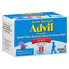 Jr Strength Acetaminophen Dosage Chart Advil Junior Strength Fever Reducer Pain Reliever Chewable Tablets Grape