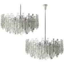 four large kalmar chandeliers ice glass and nickel 1960s for