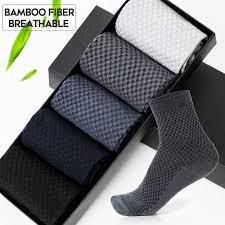 <b>5 Pairs</b> / lot Bamboo Fiber Socks <b>Men</b> New Brand Casual Solid ...