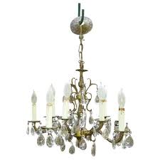 vintage spanish brass chandelier dripping prisms 10 light to expand