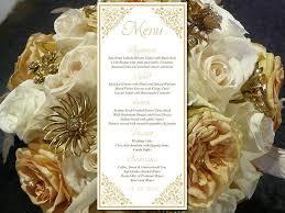 Printable Wedding Menu Template Entree Card Gold Menu Card