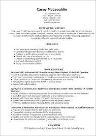 Forklift Operator Resume