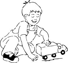 Coloriage Enfant Joue Au Camion Imprimer