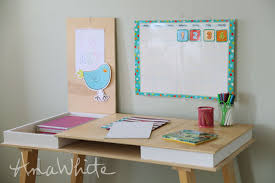 This desktop is easy to make and works great! Add different bases to get  the perfect desk! DIY plans by ANA-WHITE.com