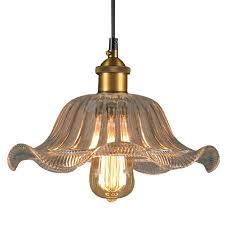 Vintage Pendant Hanging Light Lotus Glass Shades