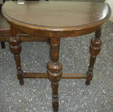 edwardian oak half round table