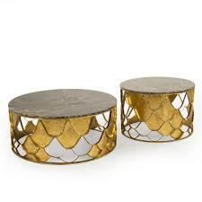 auriel global bazaar antique gold scale round coffee table set of 2 kathy kuo