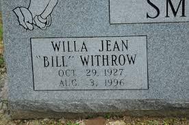 Willa Jean Smith (Withrow) (1927 - 1996) - Genealogy