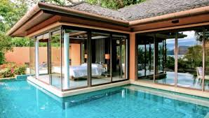 swimming pool: Marvelous Home Decorating Idea With Fixed Glass Window Also  Agreeable Backyard Pool Design