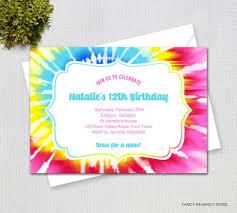 Tie Dye Invitation Large Pink Rainbow Spiral Tie Dye Birthday Invitation Digital Printable File 82612
