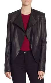 theory open front leather jacket in black rich leather jacket in a polished silhouette