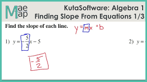 kuta algebra 1 finding slope from an equation part 1