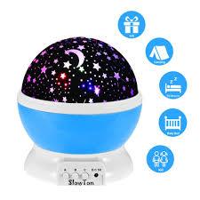 starry night light lamp slowton romantic 3 modes colorful led moon sky dreamer desk rotating cosmos starlight projector for children kids baby bedroom