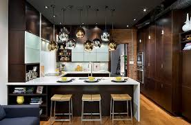 modern kitchen design 2015. Fabulous Use Of Gold And Silver Lighting Fixtures In The Kitchen [Design:  Thermador Home Modern Design 2015 T