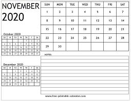 Blank 2020 Calendar November Free Printable Calendar Com
