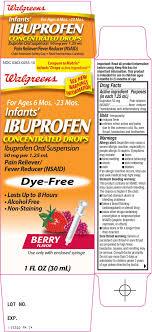 Ibuprofen Concentrated Drops Dosage Chart Ibuprofen Suspension Drops Walgreen Company