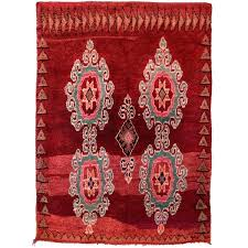 pink moroccan rug and white vintage ruby red turquoise