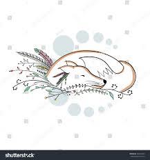 Sleeping Autumn Apache Fox Decorated Forest Stock Vector Royalty