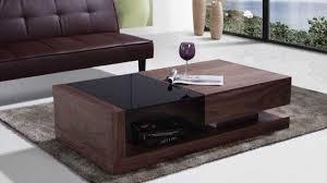beliani coffee table one drawer black tempered glass top 130 x 70 cm walnut porto eng