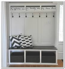 contemporary style storage bench with coat racks having hooks basket drawers on the storage unit