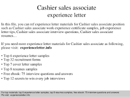 Cashier sales associate experience letter In this file, you can ref  experience letter materials for ...