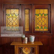 stained glass windows arts and craft home two stained glass windows geometric pattern amber and green arch was george niedecken built 1905