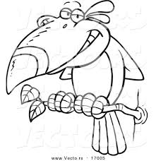 Small Picture Vector of a Cartoon Toucan Bird Coloring Page Outline by