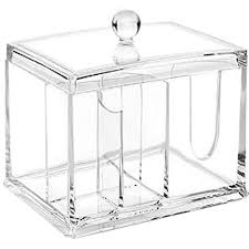 Clear Acrylic Organizer, Storage Box for Cotton Swabs, Q-Tips, Make Up  Pads, Cosmetics & More - For Bathroom & Vanity By AcryliCase - Walmart.com