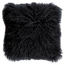 mongolian lambswool cushion black
