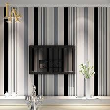 Fashion Zwart Wit Grijs Verticale Gestreepte Behang Woonkamer Sofa