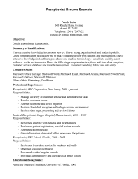 Receptionist Job Description Resume Sample Job And Resume Template