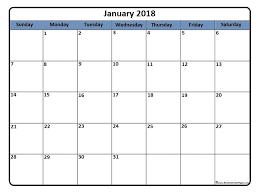 mothly calendar january 2018 printable calendar library crafts and ideas