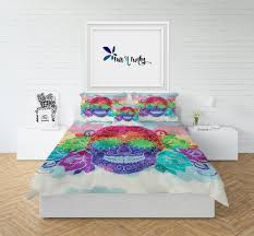 skull bedding sugar skull comforter or duvet cover twin full queen king watercolor rainbow