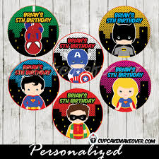 Personalized Superheroes Superhero Favor Tags Thank You Stickers Personalized