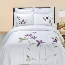 modern hotel style purple white embroidered fl duvet comforter cover and shams set with decorative pillows