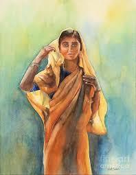 natural indian woman painting