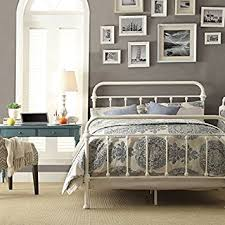Amazon White Antique Iron Metal Bed Frame Vintage Bedroom
