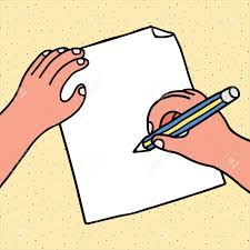 Hand Drawn Vector Illustration Of Hand Write On Paper In Cartoon