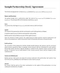 Printable Sample Partnership Agreement Sample Form Real Estate ...