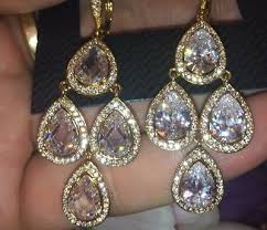 nadri 18k yellow gold swarovski crystals cz chandelier earrings
