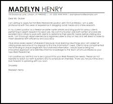 Sample Research Cover Letter Web Researcher Cover Letter Sample Cover Letter Templates Examples