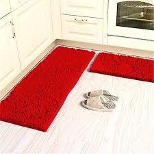 red rug runners soft microfiber anti slip floor mat chenille rug bathroom rug set washable red rug