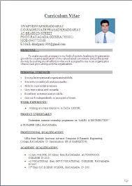 Format Of Resume For Freshers Download Kuramo News