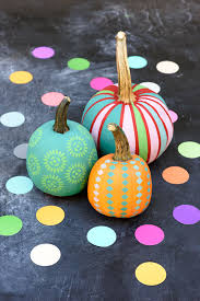 vibrant décor chalk paint and handmade stencils yield some pretty groovy pumpkins through for a tutorial and more pumpkin decorating ideas