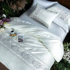 white silver cotton imitate silk luxury bedding set queen king size bed set bedsheets linen europe embroidery duvet cover set embroidered duvet cover