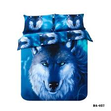 3 100 organic cotton 3d wolf print bed sheets california king bedding set blue animal wolf bed linen fitted sheet set quilt sets queen bedding collection