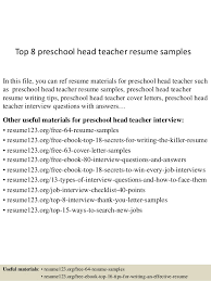 Top 8 preschool head teacher resume samples In this file, you can ref resume  materials ...