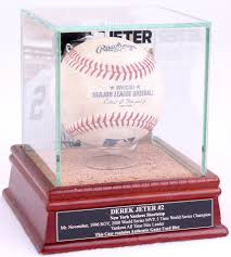 jeter single baseball display case with stat plaque background image authentic stadium dirt