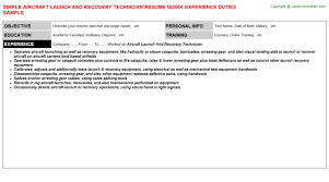 Recovery Officer Sample Resume Aircraft Launch And Recovery Officer Resumes Samples Resumes Templates 74