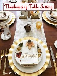 thanksgiving table setting with diy place cards across the blvd